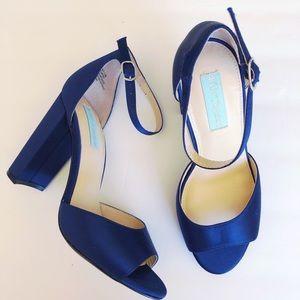 Betsey Johnson Blue Satin Heels